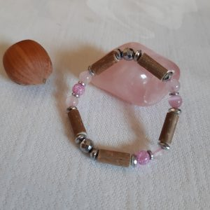 Bracelet Noisetier + Quartz rose