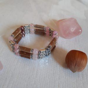 bijou triple en noisetier + quartz rose
