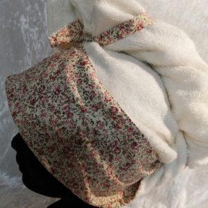 Serviette sèche cheveux Fleurs Beige - 3